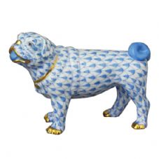 Herend Porcelain Fishnet Figurine of a Pug Lola